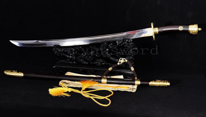 Handmade Sanmai Clay Tempered Chinese Ebony Broad Sword Qing Dao