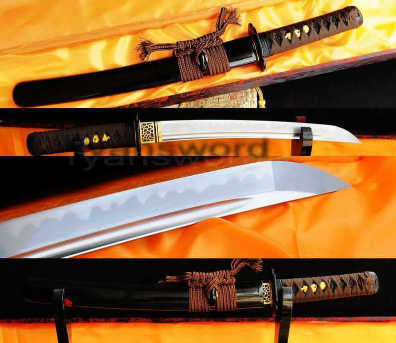 High Quality 1095 Carbon Steel Clay Tempered+Abrasive Japanese Samurai Tanto Sword