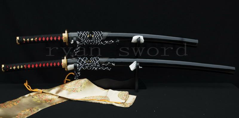 High Quality 1095 Carbon Steel Clay Tempered Ray Skin Saya Japanese Sword Set