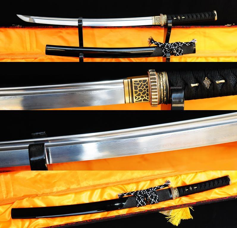 Hand Forged Damscus Folded Steel Japanese Samurai Wakizashi Sword