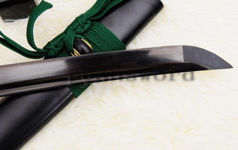 Hand Forged Black Damscus Folded Steel Japanese Samurai Wakizashi Sword