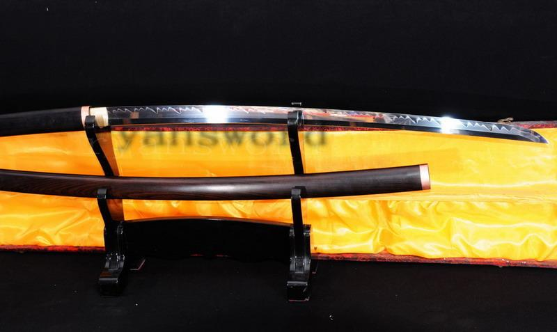 High Quality 1095 High Carbon Steel Clay Tempered Ebony Wood Saya Japanese Samurai Shirasaya Sword