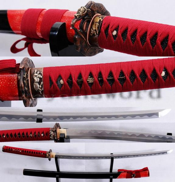 High Quality 1095 Carbon Steel+Folded Steel Japanese Honsanmai Samurai Sword Katana
