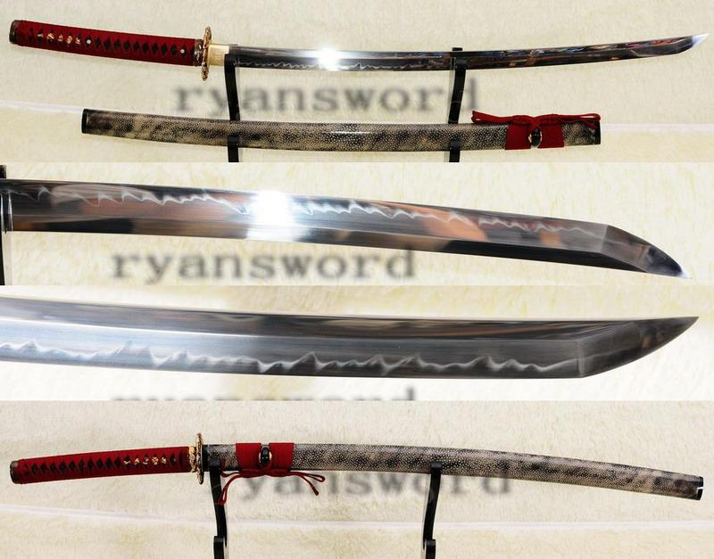 High Quality 1095 Steel Clay Tempered Maru Full Ray Skin Saya Japanese Samurai Sword Katana