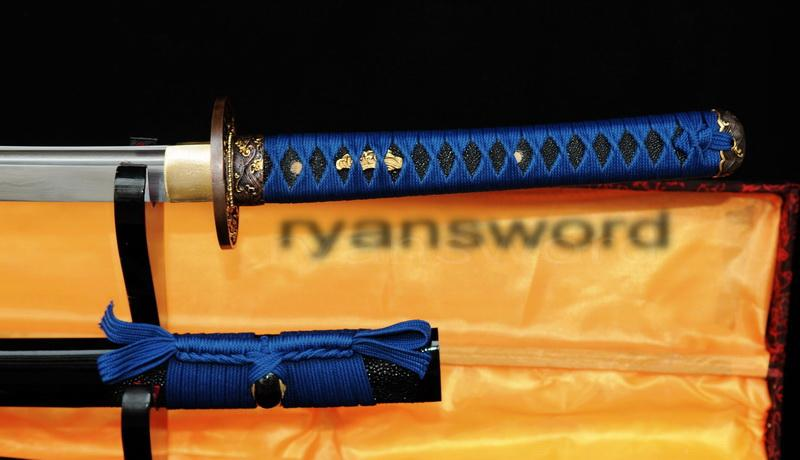 Hand Made Damascus Folded Steel Ray Skin Saya Japanese Samurai Katana Sword
