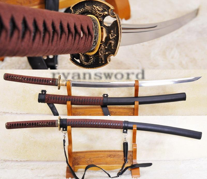 High Quality Handmade Leather Saya High Carbon Steel Japanese Sanmuri Sword Katana