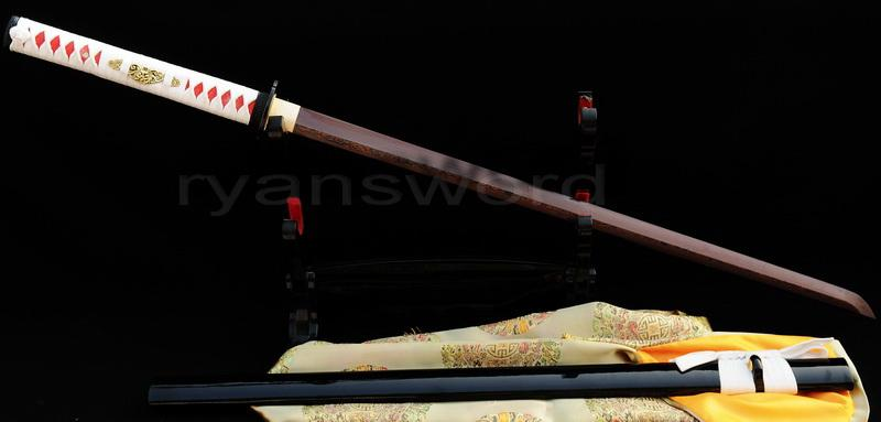 Hand Forged Red Folded Steel Blade Japanese Samurai Ninja Sword