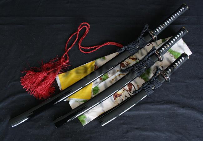High Quality 1095 Carbon Steel Clay Tempered Japanese Samurai Sword Set