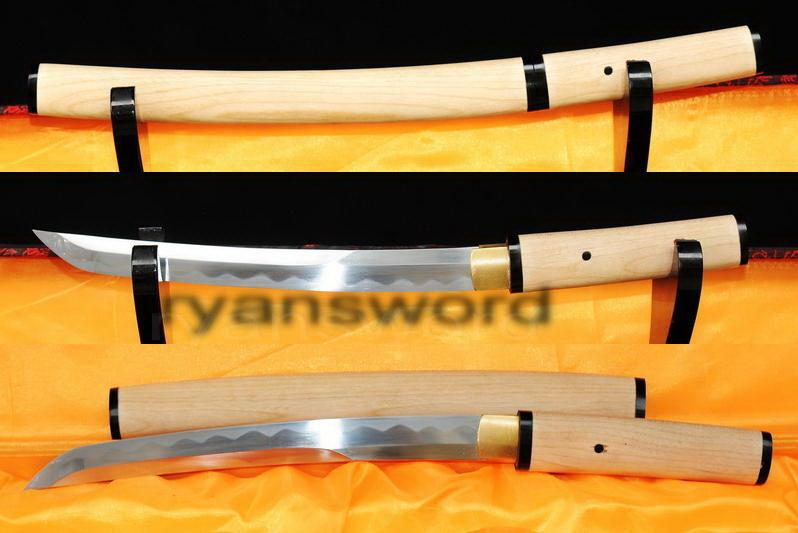 High Quality 1095 Carbon Steel Horn+White Wood Saya Japanese Samurai Tanto Sword