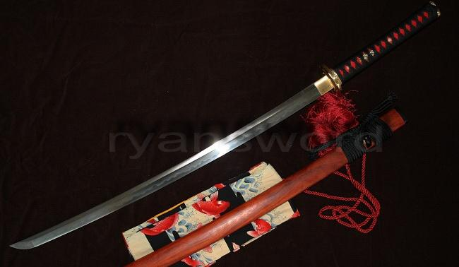 Rose Wood Saya Combined Material Clay Tempered Japanese Samurai Katana Sword